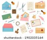 envelopes with postmarks.... | Shutterstock .eps vector #1902035164