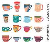 trendy cups. coffee and tea...   Shutterstock .eps vector #1902035791