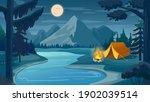 mountain night camping. cartoon ...   Shutterstock .eps vector #1902039514