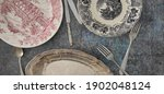 Ancien Plates And Silverware On ...