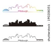 Pittsburgh skyline linear style with rainbow in editable vector file - stock vector