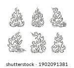 outline fire flame vector set.... | Shutterstock .eps vector #1902091381