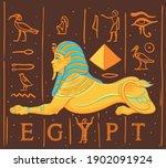 sphinx  egyptian mythical... | Shutterstock .eps vector #1902091924