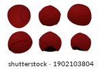 Red Fez Hat Isolated White...