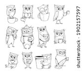 owl characters. funny wild... | Shutterstock .eps vector #1902157597
