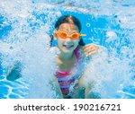 the cute girl swimming...   Shutterstock . vector #190216721