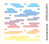Vector clouds pattern isolated on white background. Flat abstract cartoon illustration related to sky, weather forecast. Different cloud shapes, haze symbols. Sunrise colored cloudscape collection.