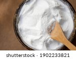 Small photo of Close-up baking carbonate. Recently popular baking carbonate is also used for cleaning purposes.