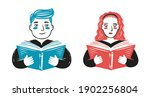 reading book. school concept... | Shutterstock .eps vector #1902256804
