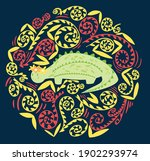 cute dinosaur with a wreath and ... | Shutterstock .eps vector #1902293974