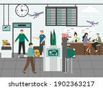 airport security control and...   Shutterstock .eps vector #1902363217