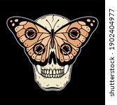 skull and butterfly color black | Shutterstock . vector #1902404977
