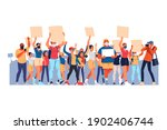 crowd of protesting people with ... | Shutterstock .eps vector #1902406744