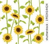sunflower seamless pattern .... | Shutterstock . vector #1902414424
