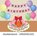 peach shape birthday bun with...   Shutterstock .eps vector #1902431101