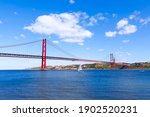 Famous Bridge In Lisbon Over...