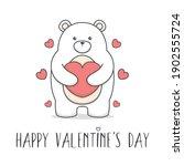 Cute Polar Bear Hugging Heart...