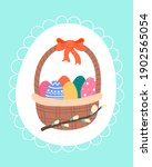 vector easter basket with... | Shutterstock .eps vector #1902565054