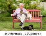 Old Man Resting On Bench And...