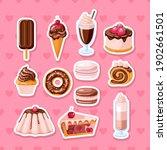 set of chocolate sweet food.... | Shutterstock .eps vector #1902661501