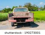 Rusty Old  Pickup In Farm