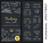 bakery menu mockup. hand drawn... | Shutterstock .eps vector #1902778927