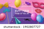 purim holiday background with... | Shutterstock .eps vector #1902807727