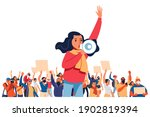 a young woman shouts through... | Shutterstock .eps vector #1902819394