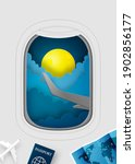 airplane window view paper art... | Shutterstock .eps vector #1902856177