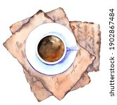 top view of coffee cup on... | Shutterstock . vector #1902867484