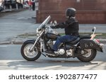 Motorcyclist On Motorcycle...