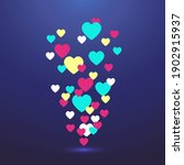 flying colorful hearts on a...