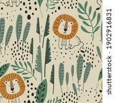 seamless jungle pattern with... | Shutterstock .eps vector #1902916831