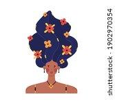portrait of girl with raised... | Shutterstock .eps vector #1902970354