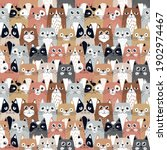 funny cartoon cats. seamless... | Shutterstock .eps vector #1902974467