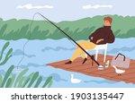 Fisherman Sitting With Fishing...