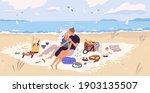 happy couple hugging on picnic... | Shutterstock .eps vector #1903135507
