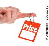 hand holding blank price tag,  photo does not infringe any copyright - stock photo