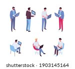 isometric man with laptop...   Shutterstock .eps vector #1903145164