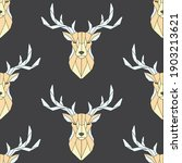 seamless pattern polygonal deer ... | Shutterstock .eps vector #1903213621