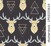 seamless pattern polygonal deer ... | Shutterstock .eps vector #1903253614