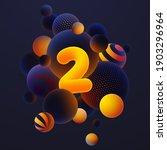 luminescent yellow number 2 ... | Shutterstock .eps vector #1903296964