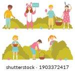kids on easter egg hunt in... | Shutterstock .eps vector #1903372417