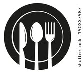 plate with spoon  knife and... | Shutterstock .eps vector #190337987