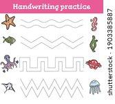 handwriting practice sheet.... | Shutterstock .eps vector #1903385887