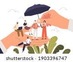 boss hand holding tiny cartoon... | Shutterstock .eps vector #1903396747