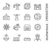 Seaport  Icon Set. Equipment...