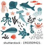 cute vector ocean set with sea... | Shutterstock .eps vector #1903509421
