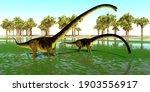 Omeisaurus Dinosaur Swamp 3d...