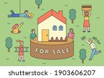a house for sale. people are... | Shutterstock .eps vector #1903606207